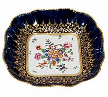 A Worcester shaped square blue-ground and gilt dish , circa 1770
