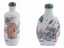 Two famille rose porcelain bottles decorated with mythical figures
