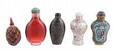 A group of five snuff bottles comprising one lac burgaute