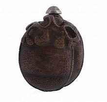 An unusual Chinese bamboo snuff bottle shaped as a peach , 19th century