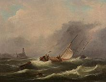 Robert Jobling (1841-1923) - Vessels in a swell off the coast