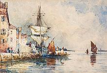 Thomas Bush Hardy (1842-1897) - Moored sailing ship on the Venetian lagoon