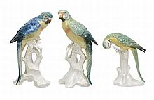 Three various modern German porcelain models of parrots, 25cm high and smaller
