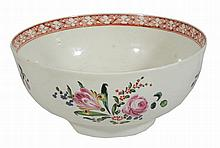 A Worcester polychrome slop bowl, circa 1770, decorated with flowers