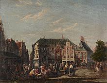 English School (19th century) - A Dutch Market Square