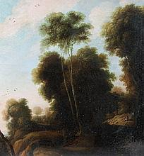 Dutch School (18th/19th century) - Sheep and Shepherd in a wooded landscape