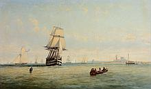 English School (19th century) - Shipping entering harbour