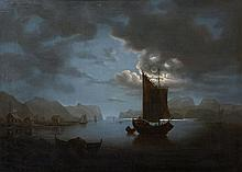 English School (19th century) - Vessels in a fjord by moonlight