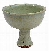 A Longquan celadon stem cup, Yuan dynasty , the ribbed