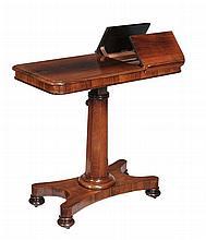 William IV rosewood adjustable reading table , circa 1835