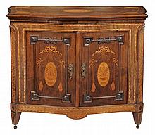A Dutch walnut, burr walnut and marquetry serpentine side cabinet