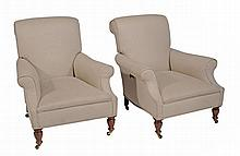 A matched pair of Victorian beech and upholstered armchairs, circa 1890