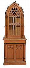 A Victorian pine Gothic Revival cabinet on cupboard , circa 1870