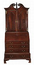 A George II oak bureau bookcase, circa 1750, possibly Anglo-Dutch