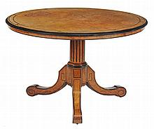 A Victorian walnut, burr walnut and ebonised centre table, circa 1860