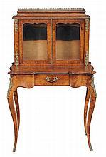 A Victorian walnut gilt metal mounted bonheur du jour, circa 1860