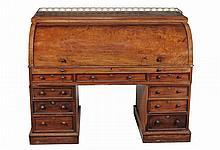 A Victorian mahogany pedestal desk, circa 1860
