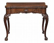 A mahogany card table, late 19th century, in George II style