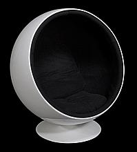 A white coated fibreglass and steel Globe or Ball chair, after Eero Aarnio