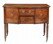 A Regency mahogany and brass strung bowfront sideboard , circa 1815