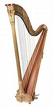 A maple, birds eye maple, fruitwood and parcel gilt gesso harp by Sebastian...