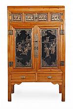 A Chinese black lacquer and gilt decorated cupboard, 20th century