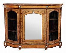 A Victorian burr walnut and gilt metal mounted credenza, circa 1870