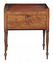 A George III mahogany tray top bedside cupboard, circa 1800