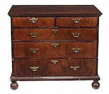 A George II walnut and line inlaid chest circa 1740 the crossbanded...