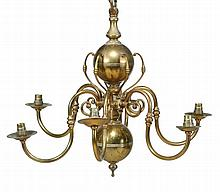 A set of four brass six branch chandeliers, in Dutch 18th century style