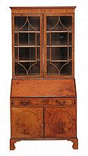 A late 19th/early 20th century satinwood bureau bookcase