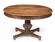A William IV Anglo-Indian dining table , circa 1835, circular top