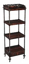 A Victorian rosewood four tier whatnot, circa 1850