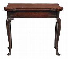A George II mahogany folding tea table, circa 1740