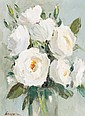 DDS Edward Wesson (1910-1983) White Roses Oil on board
