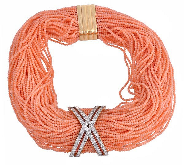 A coral and diamond necklace, by Luana Frangie,