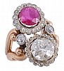 A ruby and diamond crossover dress ring, with a