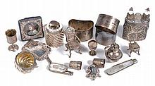A collection of small silver and silver coloured items, to include