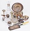 A cut glass decanter with silver collar by Israel Freeman & Son Ltd