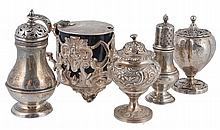 Five items of small silver, comprising: a Victorian pierced drum mustard pot...