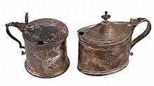 Two George III silver mustard pots, comprising