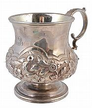 A George IV silver baluster christening mug, maker's mark illegible
