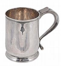 A George II silver mug, maker's mark obscured, London 1730