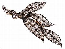An early Victorian diamond leaf brooch, circa 1840