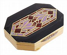 A French enamelled pill box, the octagonal box with black