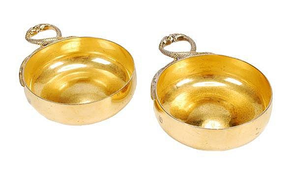 Tiffany, a pair of silver gilt wine tasters by