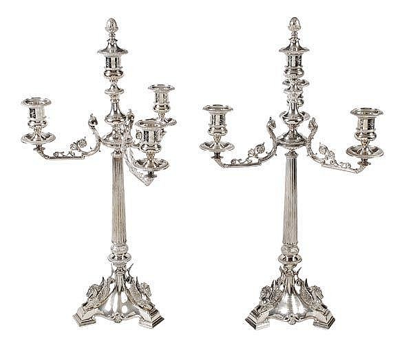 A pair of mid Victorian electro-plated three