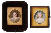 William Egley (1798-1870). Portrait of a young child resting on a balustrade, head and shoulder length; Portrait of a fair haired child in a white dress, quarter length. Each 4.5cm x 3.8cm. In differing leather covered cases