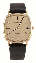 Vacheron & Constantin, a gentleman's 18 carat gold wristwatch, circa 1975, ref. 7390, no. 462885, the two piece case with champagne dial, baton numerals and hands and date aperture, 36 jewel Vacheron & Constantin automatic movement adjusted to heat