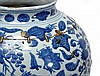 A Chinese blue and white baluster jar decorated
